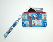 Wristlet Purse with Removable Strap and Interior Pocket - Handcrafted from Snoopy and Linus Fabric