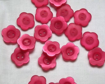 Pink flower buttons, 20mm x 3