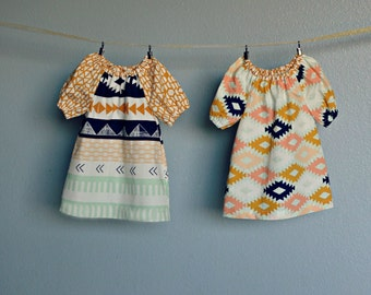 Coordinating Sister Fall dresses, Southwest, Aztec, mustard yellow Mint navy blush baby toddler girl sibling outfits photo shoot  birthday
