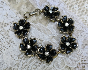 SALE ... Vintage Black Flower with Clear Rhinestones Link Bracelet  ... 1950s