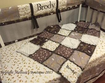 Rustic Deer Nature Grey Brown and Gold Metallic Designer Baby Nursery Crib Bedding Set with Custom MONOGRAM MADE To ORDER