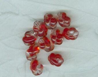 10 Vintage Red Crystal Blend German Fancy Twist Glass Beads 10 x 8 mm