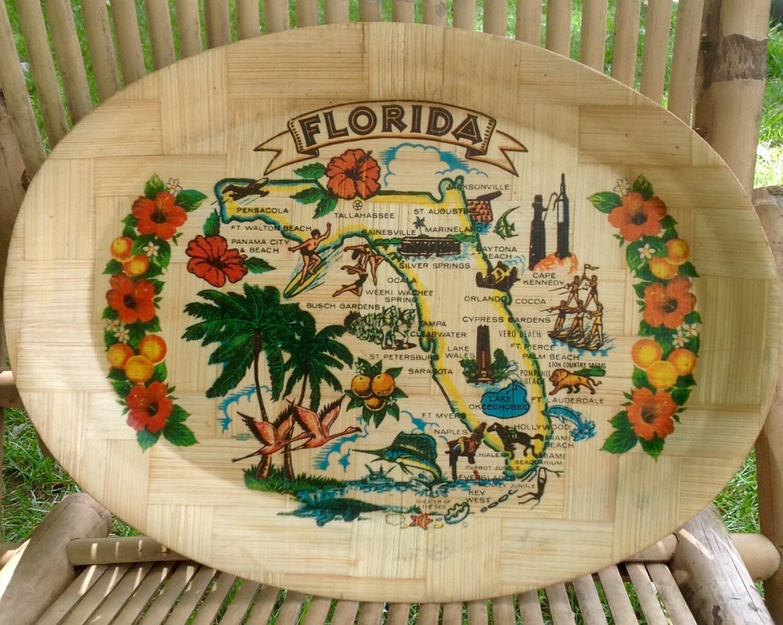 Free Shipping Vintage Florida Bamboo Souvenir Oval Tray