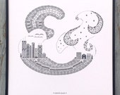 Cooper Black letterpress ampersand print