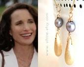As seen on tv Cedar Cove Olivia Lockhart, celebrity style Grey pearl earrings vermeil gold Andie MacDowell