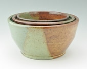 Handmade Pottery Nesting Bowl Set - Plus Size 1 2 3 Quart Sturdy Durable Mixing Bowl Set, Honey Brown & Sage Wedding Gift Set Ready to Ship