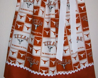 Pillowcase Dress University of TEXAS College Dress Burnt Orange White UT Game Day dress baby dress toddler dress girls dress Longhorns