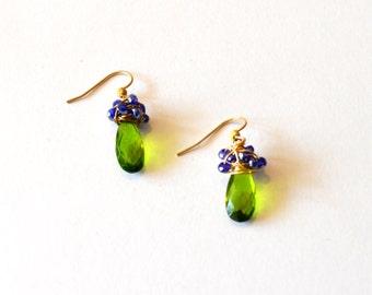 Green Gold Blue Wire Wrap Earrings / Green Blue Crystal Earrings / 14k Gold Filled Wire Wrap Wedding Earrings / Sapphire Blue Emerald Green