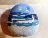 Three Birds/Three Sailboats!..Hand Painted Stone..Ocean Scene Big Wave - number 54.... Makes a cute gift for beach lovers!