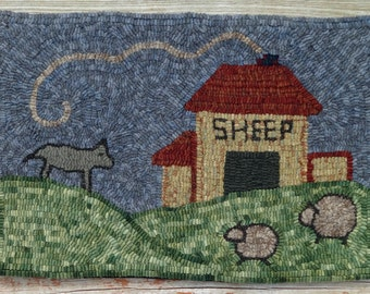 Primitive Hand Hooked Sheep Rug -Folk Art Rug Hooking (Free Shipping)
