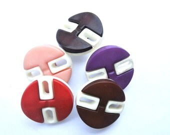 30 Antique vintage buttons, 5 colors 23mm