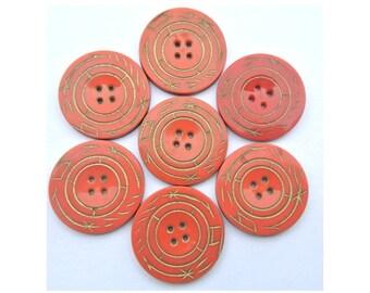 6 Vintage plastic buttons, unique orange with gold color pattern, 28mm