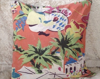 Mid century modern vintage hawaiian throw pillow cover 18x18 coral landscape palm trees