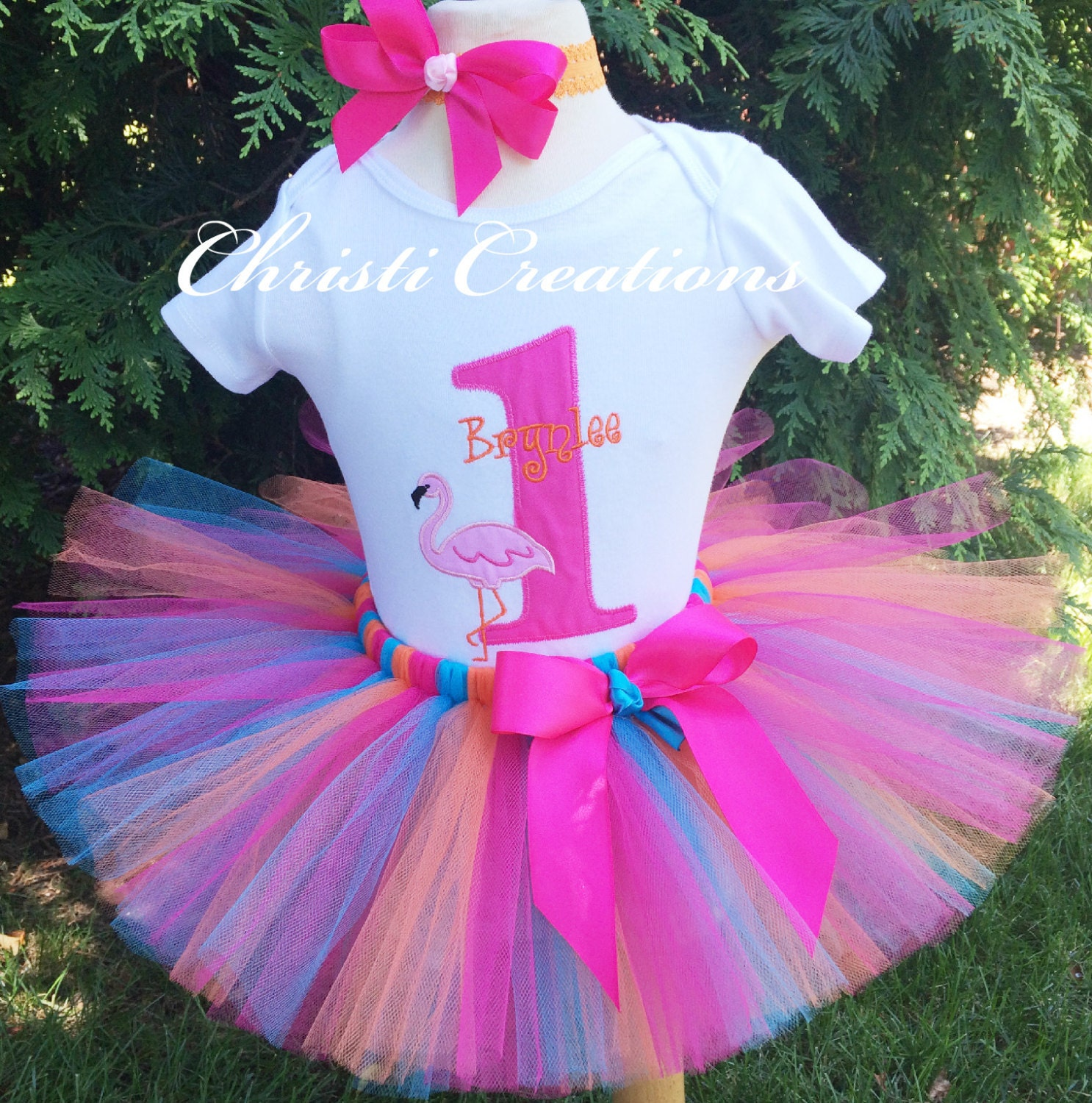 Birthday Party Outfit: Baby Girl 1st Birthday Tutu Outfit Flamingo Party Orange