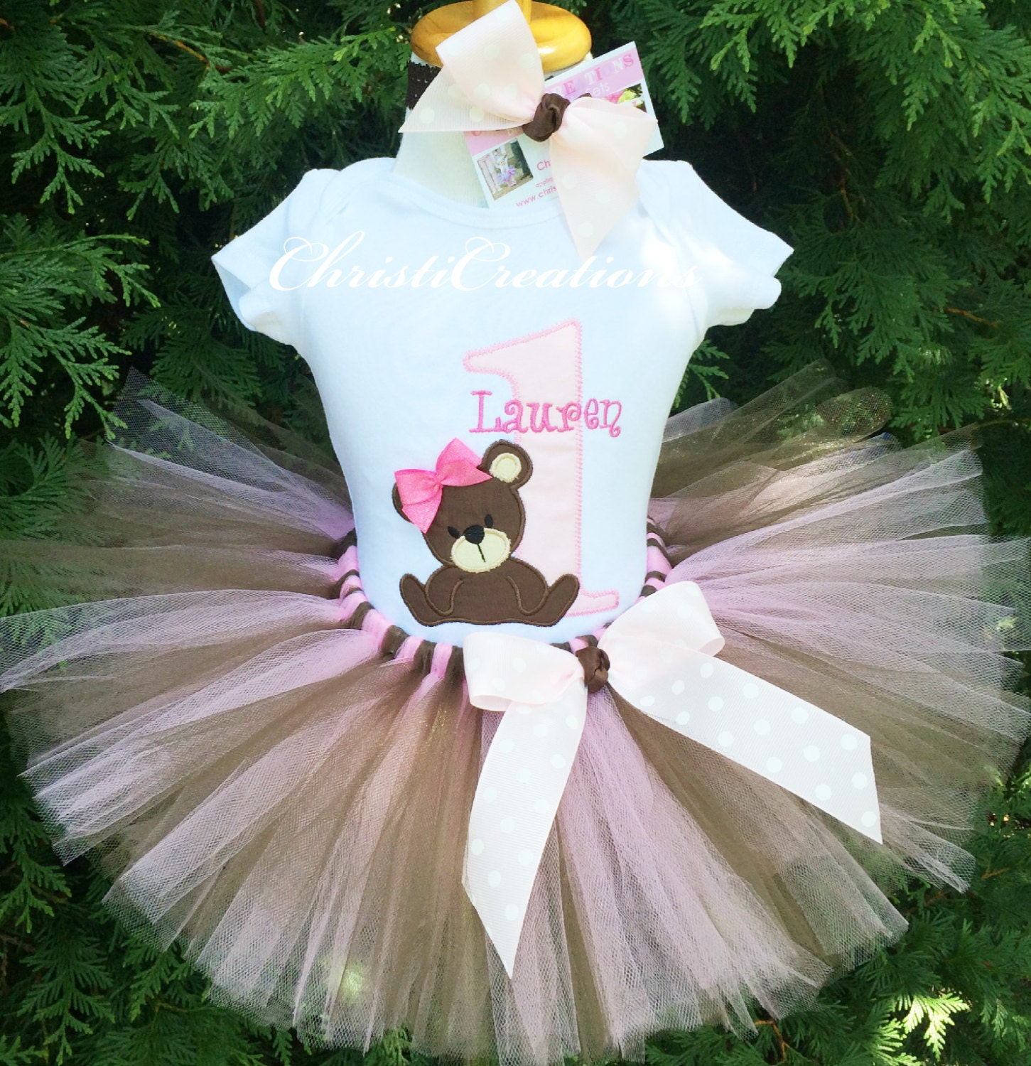 Birthday Party Outfit: Teddy Bear 1st Birthday Outfit Baby Girl First Birthday Tutu