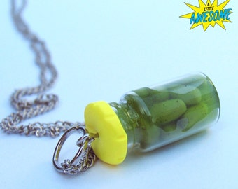 Pickle Jar necklace, pickle jewelry, pickles, miniature food, food jewelry