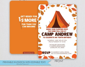 Camping Invitation - Fall Camping Bonfire and Outdoor Nature Party- Instant Download & Editable File - Personalize at home with Adobe Reader