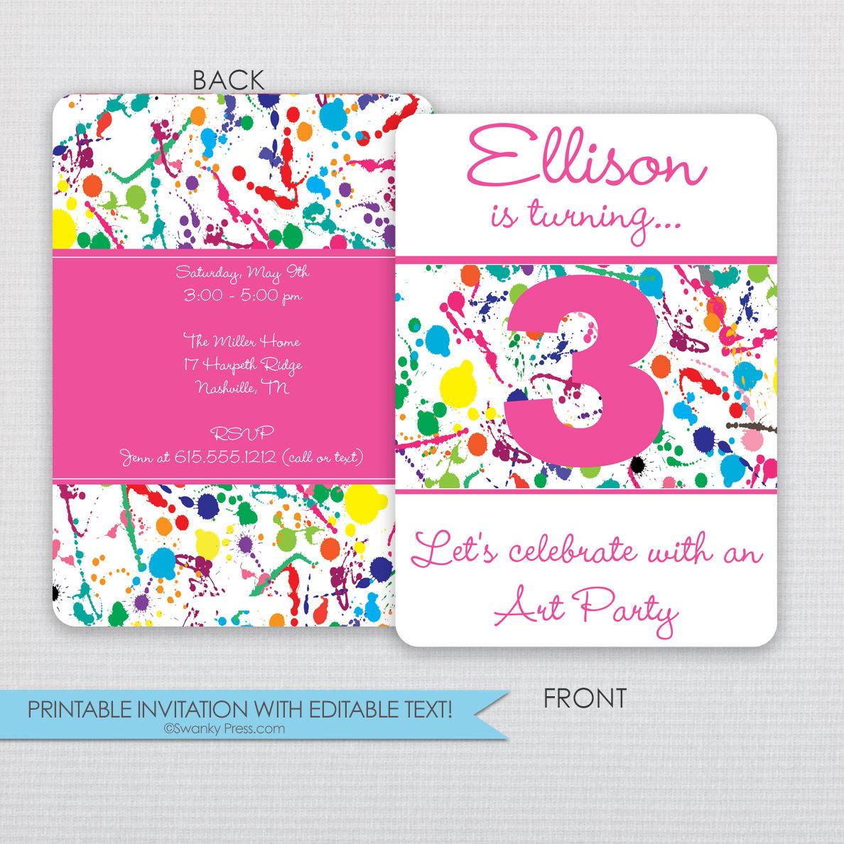 Paint Splatter Art Party Invitation Instant Download