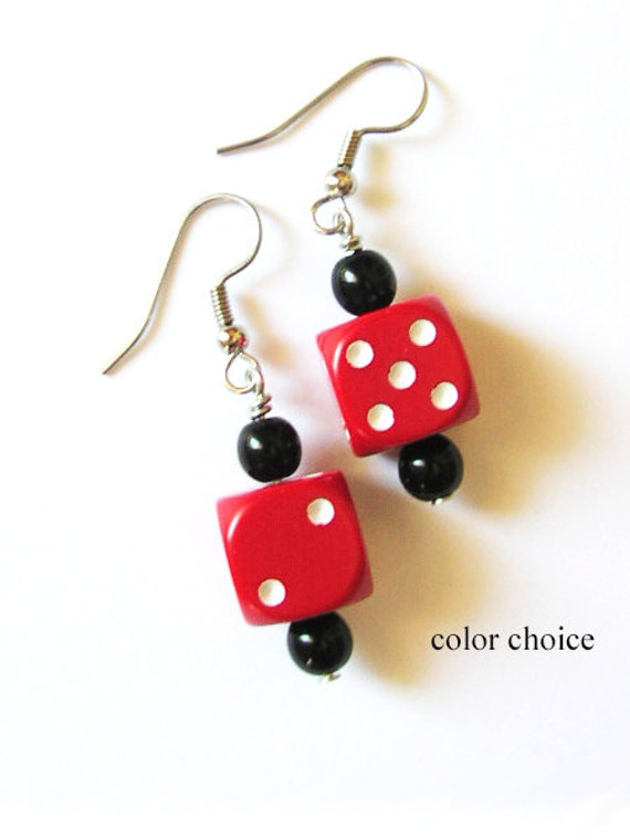 Dice Bunco Earrings Funky Cute d6 dice geekery jewelry bunko rockabilly recycled casino gambling gamer party favors stocking stuffers gifts