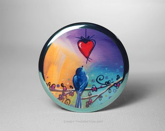 Pocket Mirror - Song Bird - Nature and Whimsy - by Cindy Thornton
