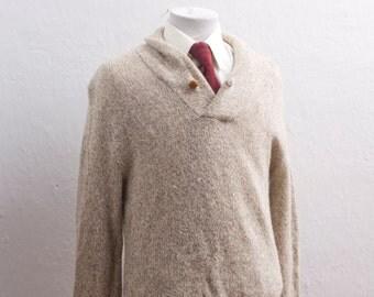 Vintage Shawl Collar Sweater / Medium / Oatmeal Knit / Size M Button Neck