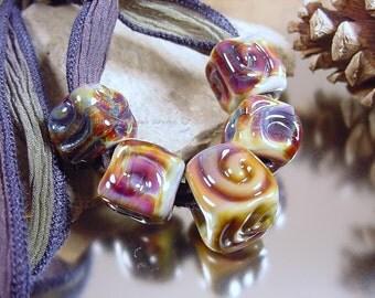 Handmade lampwork glass bead, Artisan glass beads, blue beads, purple beads, green beads, square beads, big hole beads, SRA glass beads