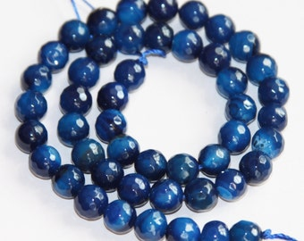 16 inch strand of Deep Blue Agate faceted round beads 8mm