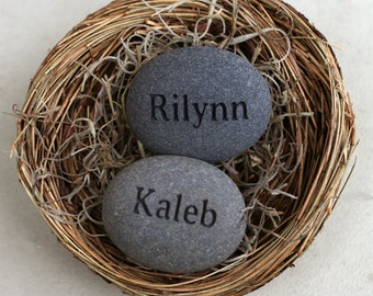 Mothers day gift - Personalized Mom's Nest (c) - Set of 2 engraved name stones in bird nest by sjEngravng