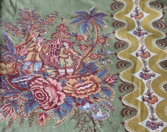 """Old NOS Asian Oriental Novelty Print Fabric (2) 34"""" by 25"""" // Ever Glaze Twill Lussky White Coolidge Salesman Sample Swatch """"China Trade"""""""