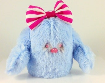 Mini Mad Eyed Monster Plush Key Chain with Pink Striped Bow