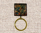 Magnetic ID Holder and Magnetic Eye Glass Holder, Fall Badge Holder, handmade using polymer clay, antique bronze colored bezel