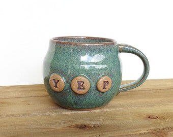 Stoneware Pottery Mug in Sea Mist Glaze - Ceramic Coffee Cup - yep