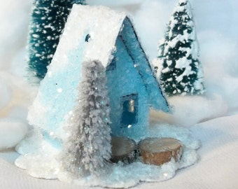 Handmade Hand Cut Reproduction Vintage Putz Style Miniature Baby Blue Glitter Sugar House for Christmas Village Tree Ornament