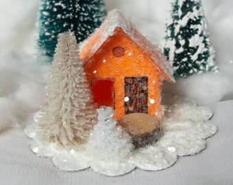 Handcrafted Handcut Vintage Putz Style Tiny Miniature Orange with Beige Tree Glitter Sugar House for your Christmas Village Tree Ornament