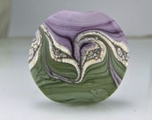 Glass Lampwork Bead Etched Green and Purple Silvered Ivory Lampwork Focal Bead