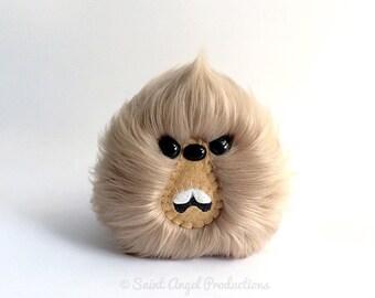 Sandy Brown Monster, Furry Blob Plush, Weird Handmade Light Brown Fuzzy Plushie, READY TO SHIP
