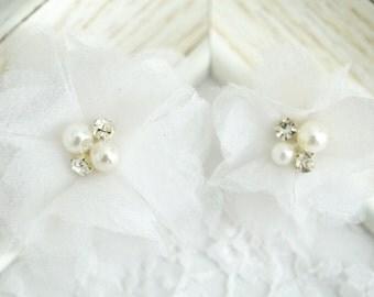 New! Set of 2pcs Handmade Organza Flowers--White