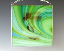 "6 "" Mermaid Fused Glass Suncatcher Panel Aqua Blue Green"
