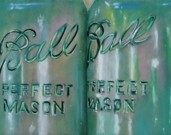 Ideal and Ball Mason Jars 30 x 10 Oil Painting