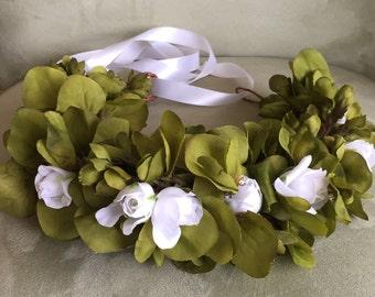 Green Flower Crown Floral Hair Wreath Wedding Hair Bridal Hair Boho Wedding Coachella Crown