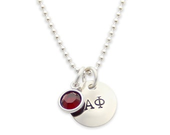 Official Licensed Alpha Phi Greek Sorority Necklace: Personalized Necklace, Hand Stamped Jewelry, Sorority Gifts, jenny present