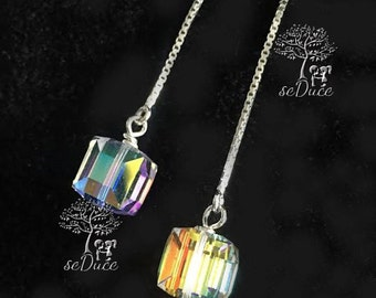 Sterling Silver Threads with Crystal AB Swarovski Cube Earrings CHOOSE color