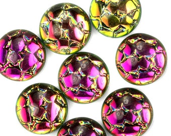 Glass Cabochons Snakeskin Mosaic 11mm Helio Red (2) GC100