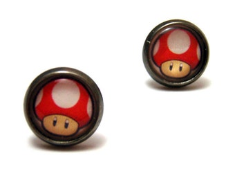 Super Mario Mushroom Studs- Red Powerup shroom from Nintendo bezel post earrings - SMALL 10mm - Geek Chic Gamer Jewelry