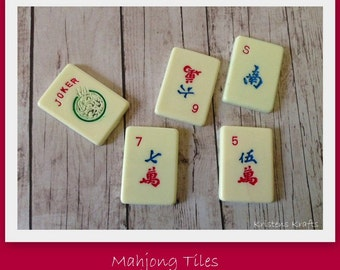 NEW- Mahjong Game Tiles- Set of 25- Great for making into pendants, key chains, bracelets, decorative magnets, etc.