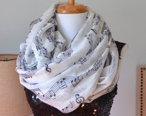 Sheet Music Scarf, Piano scarf, Musical notes scarf, Infinity Scarf, black white scarf, Music scarf, music infinity scarf