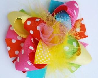 funky fun mini mod TRENDY RAINBOW girls hair bow clip.  birthday party hair bow.  big bow baby. boutique baby bow headband. custom couture.