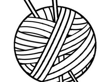 Knitting Vinyl Decal, Yarn With Needles, Yarn Vinyl Decal, Knitting Sticker