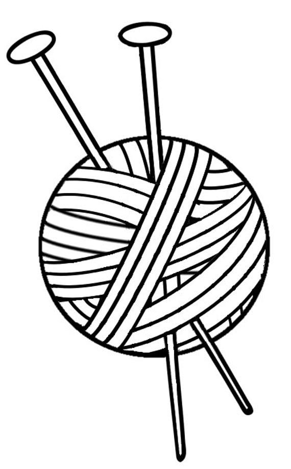 Knitting Needles And Yarn Clip Art : Knitting vinyl decal yarn with needles