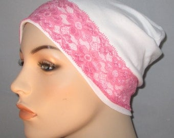 White Sleep Cap with Pink Lace Trim, Cancer Hat, Hair Loss, Lounge Cap, Chemo Hat